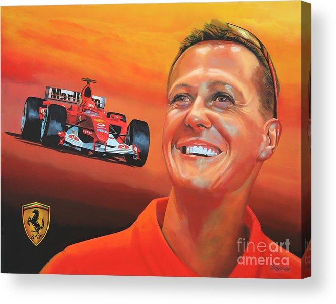 Michael Schumacher Acrylic Print featuring the painting Michael Schumacher 2 by Paul Meijering