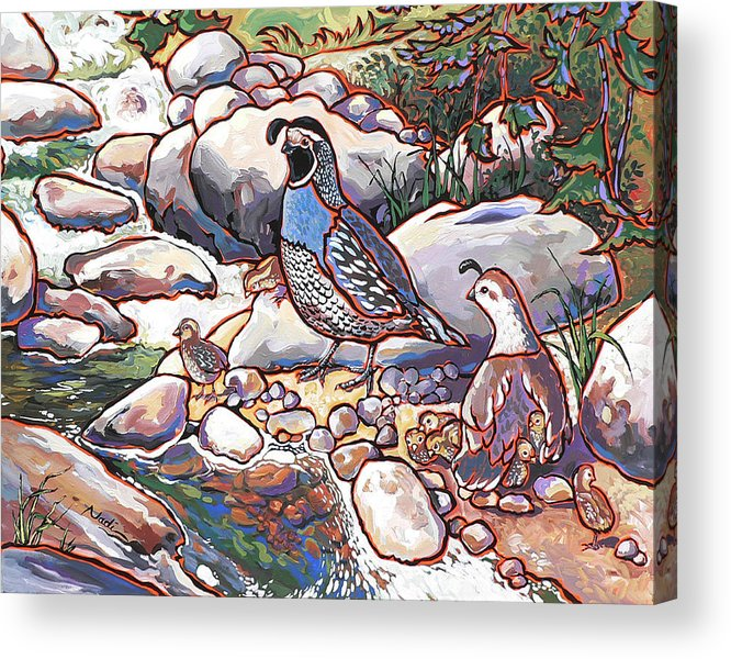 Quail Acrylic Print featuring the painting Quail Family by Nadi Spencer