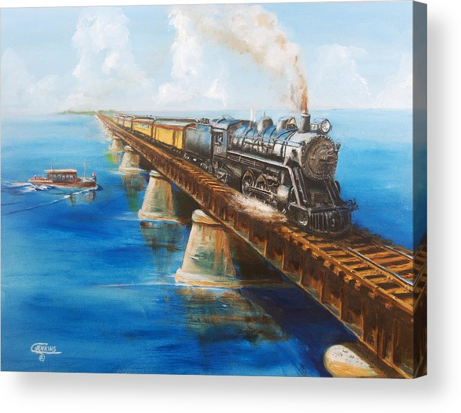 Florida Acrylic Print featuring the painting Seven Mile Bridge by Christopher Jenkins