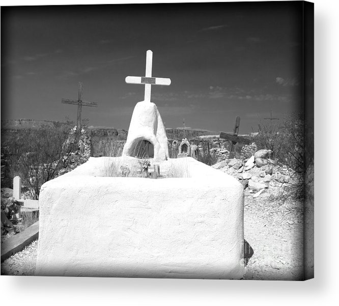 Cemetery Acrylic Print featuring the photograph Terlingua Grave by Sonja Quintero