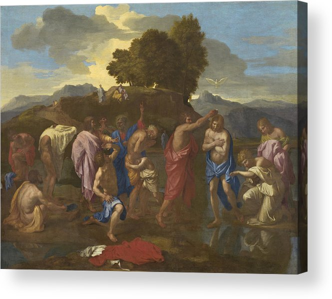 Jesus; Christ; Crucifix; Staff; St; John; Baptist; Saint; Baptising; River; Jordan; Dove; Holy; Spirit; Holy; Ghost; Baroque; Neo; Classical; Landscape Acrylic Print featuring the painting The Baptism Of Christ by Nicolas Poussin