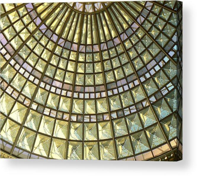 Geometric Abstract Acrylic Print featuring the photograph Union Station Skylight by Karyn Robinson