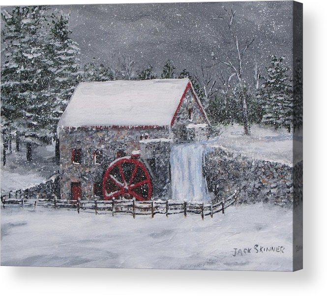 Sudbury Ma Acrylic Print featuring the painting Longfellow's Grist Mill In Winter by Jack Skinner