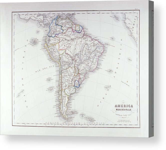 Horizontal Acrylic Print featuring the digital art Map Of South America by Fototeca Storica Nazionale