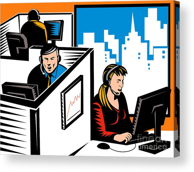 Illustration Acrylic Print featuring the digital art Telemarketer Office Worker Retro by Aloysius Patrimonio