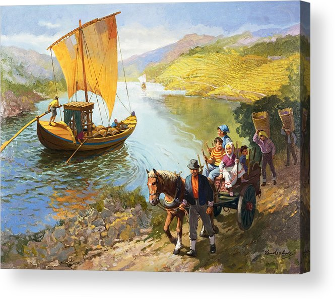 Grapes; Male; Female; Children; Child; Horse And Cart; Ship; Boat; Sail; River; Wine Making; Fruit; Vinivulture; Workers; Creek; Worker Acrylic Print featuring the painting The Grape-pickers Of Portugal by van der Syde