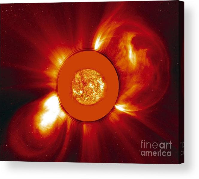 2000 Acrylic Print featuring the photograph Two Coronal Mass Ejections by Solar & Heliospheric Observatory consortium (ESA & NASA)