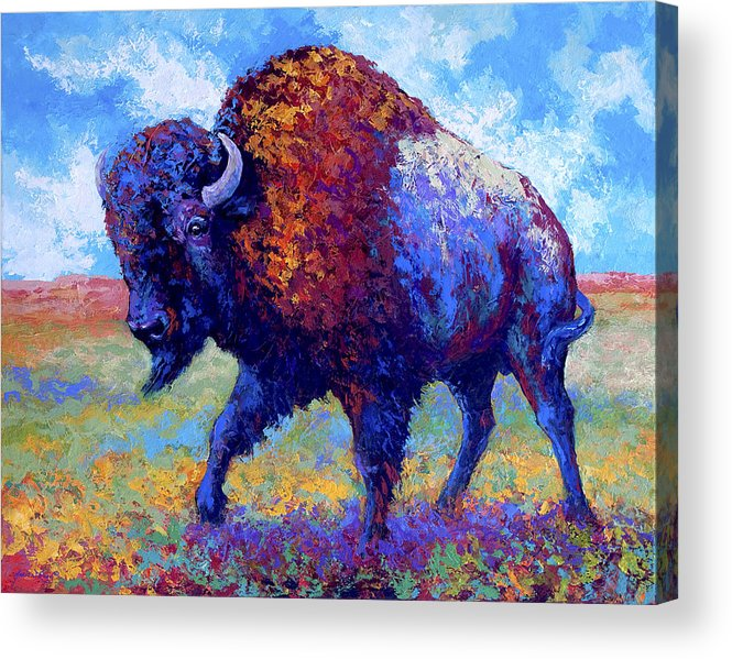 Bison Acrylic Print featuring the painting Good Medicine by Marion Rose