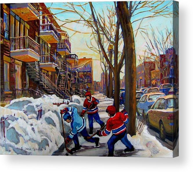 Hockey Canvas Prints Acrylic Print featuring the painting Hockey On De Bullion by Carole Spandau