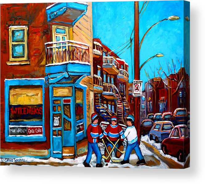 Montreal Acrylic Print featuring the painting Montreal City Scene Hockey At Wilenskys by Carole Spandau