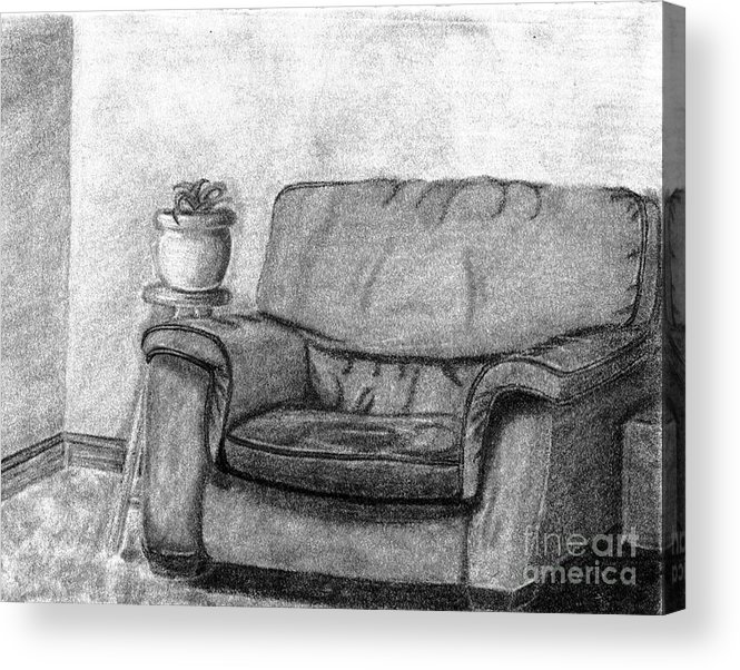 Chair Acrylic Print featuring the drawing My Favorite Chair by Wendy Keely