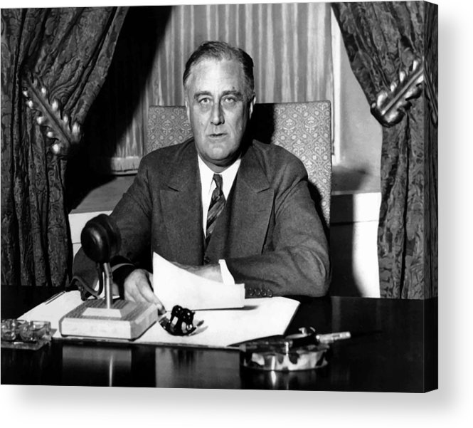 Franklin Roosevelt Acrylic Print featuring the photograph President Franklin Roosevelt by War Is Hell Store