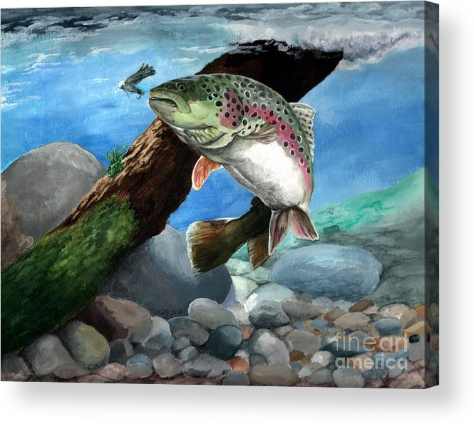Fish Acrylic Print featuring the painting Rainbow by Kathleen Kelly Thompson