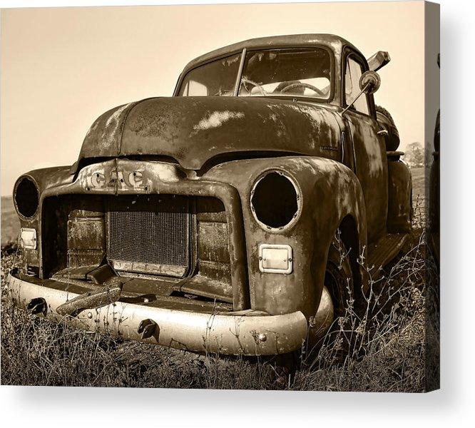 Vintage Acrylic Print featuring the photograph Rusty But Trusty Old Gmc Pickup Truck - Sepia by Gordon Dean II
