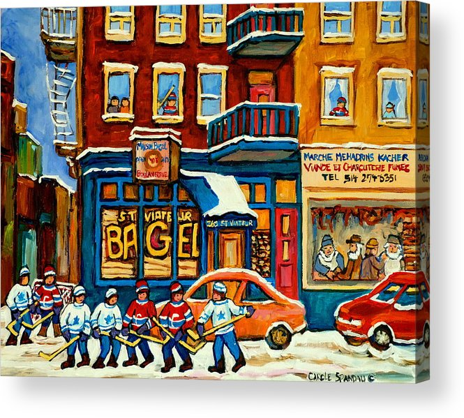 St.viateur Bagel Acrylic Print featuring the painting St.viateur Bagel Hockey Montreal by Carole Spandau