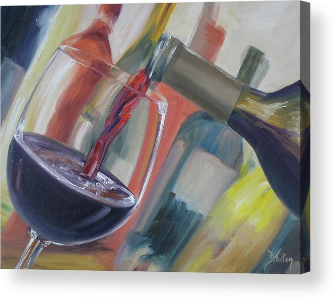 Wine Acrylic Print featuring the painting Wine Pour by Donna Tuten