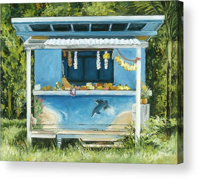 Tropical Fruit Acrylic Print featuring the painting Dolphin Bar by Stacy Vosberg