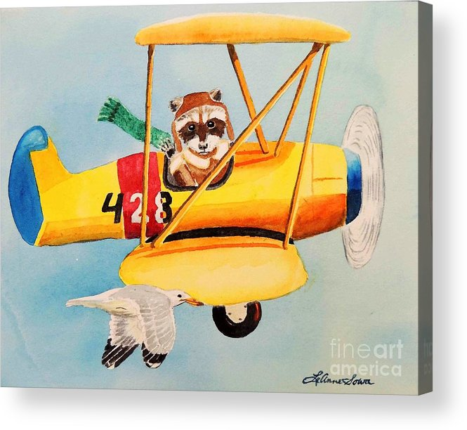 Biplane Acrylic Print featuring the painting Flying Friends by LeAnne Sowa