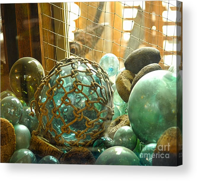 Ocean Floats Acrylic Print featuring the photograph Green Glass Japanese Glass Floats by Artist and Photographer Laura Wrede