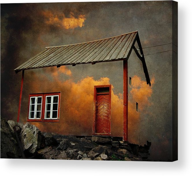 Surrealism Acrylic Print featuring the photograph House In The Clouds by Sonya Kanelstrand