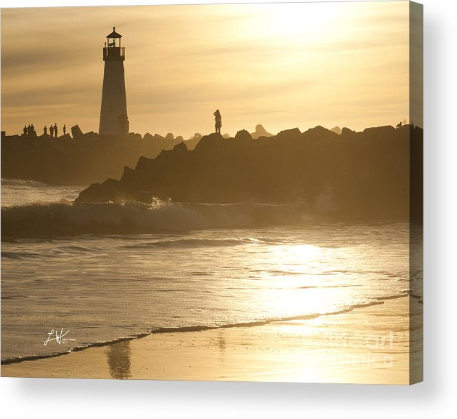 The Santa Cruz Harbor Lighthouse Acrylic Print featuring the photograph I Will Wait For You Forever by Artist and Photographer Laura Wrede