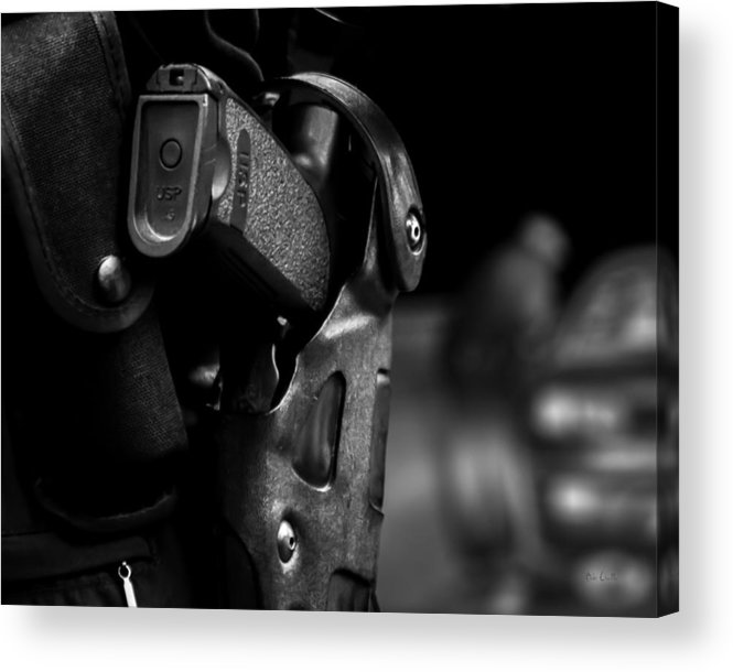 Police Acrylic Print featuring the photograph Night Traffic Stop Two by Bob Orsillo