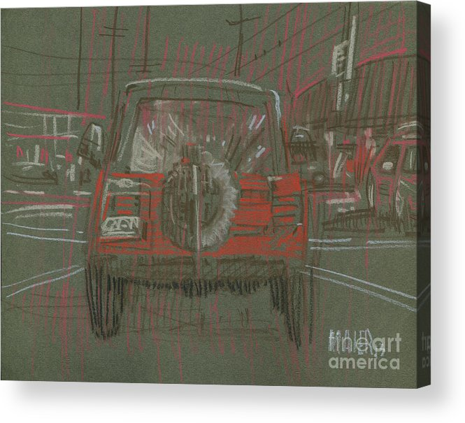 Jeep Acrylic Print featuring the drawing Red Jeep by Donald Maier