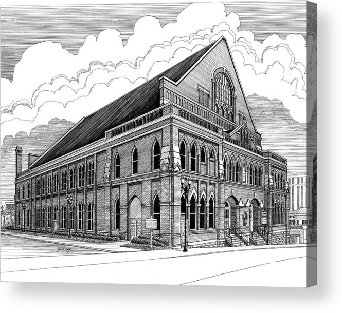 Architecture Acrylic Print featuring the drawing Ryman Auditorium In Nashville Tn by Janet King