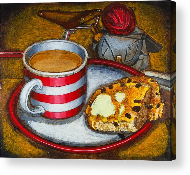 Tea Acrylic Print featuring the painting Still Life With Red Touring Bike by Mark Howard Jones