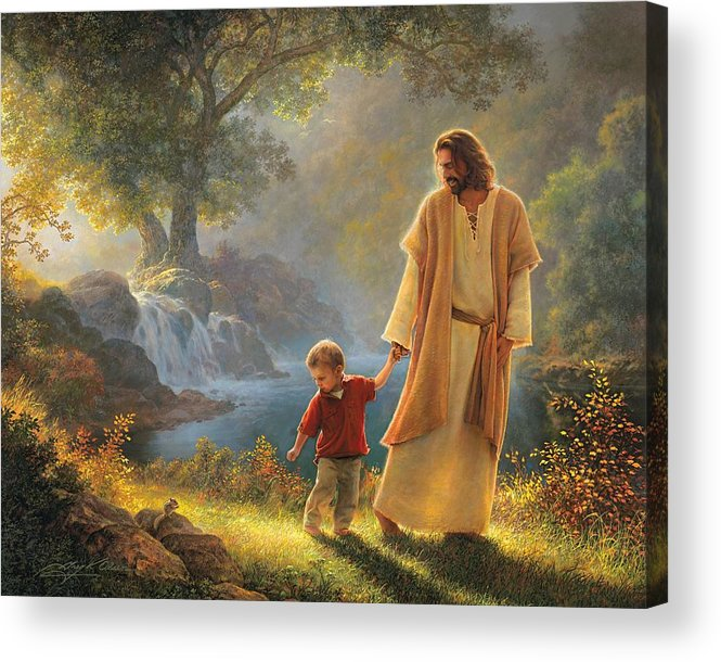 Jesus Acrylic Print featuring the painting Take My Hand by Greg Olsen