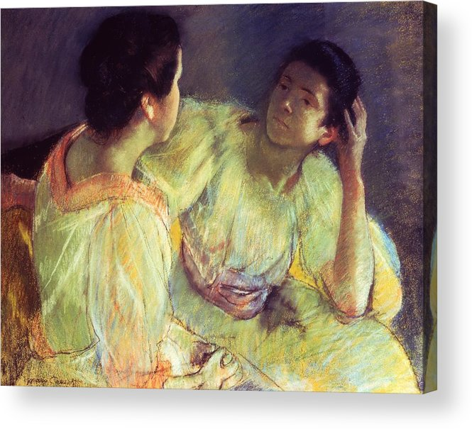 Belle Epoque; Female; Females; Friends; Listening; Friendship; Seated; Head In Hand; Impressionist; Advice; Care; Chatting; Confidante; Gossip; Discussion; Talking; Conversation Acrylic Print featuring the pastel The Conversation by Mary Stevenson Cassatt