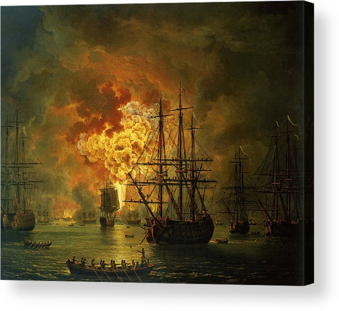 Sea Acrylic Print featuring the painting The Destruction Of The Turkish Fleet At The Bay Of Chesma by Jacob Philippe Hackert
