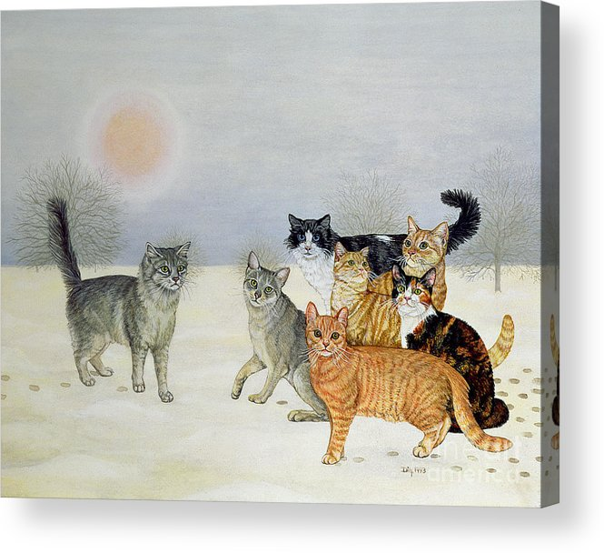 Winter Acrylic Print featuring the painting Winter Cats by Ditz