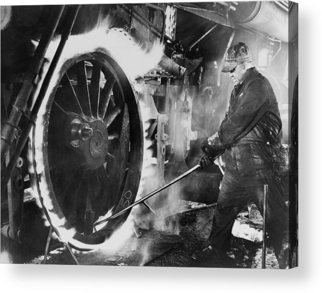 History Acrylic Print featuring the photograph Railroad Worker Sweating A Tire by Everett