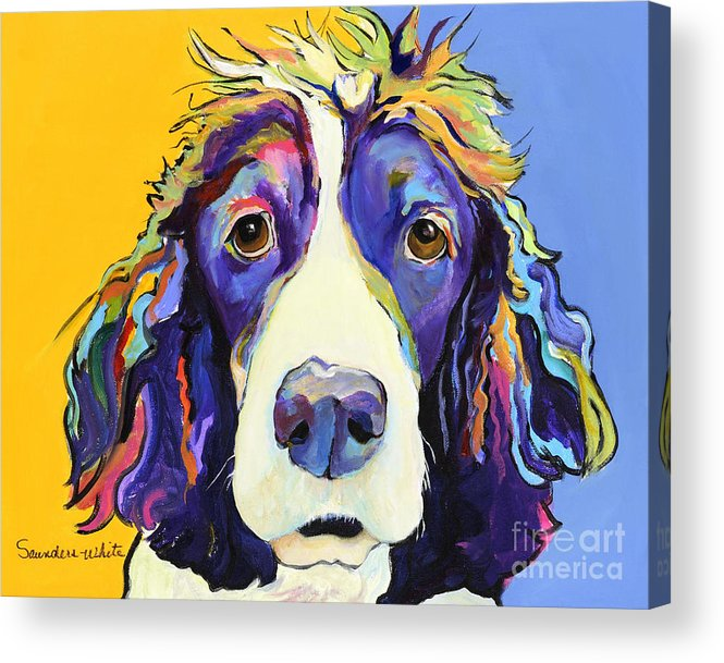 Blue Acrylic Print featuring the painting Sadie by Pat Saunders-White