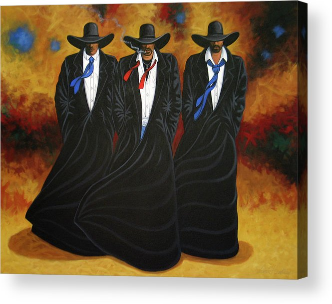 Original Cowboy Art Acrylic Print featuring the painting American Justice by Lance Headlee