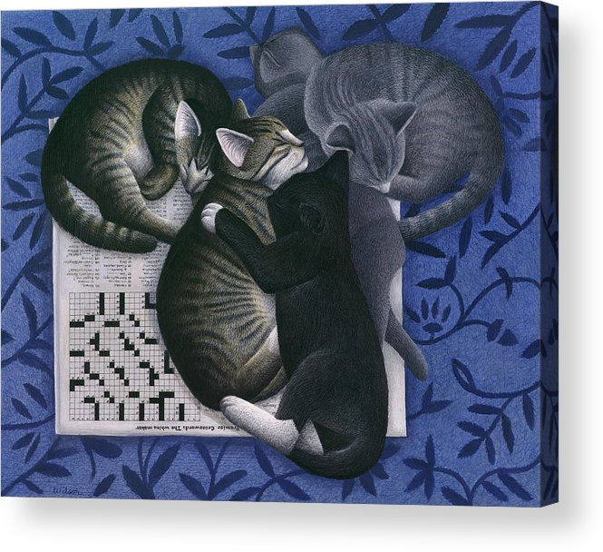 Alley Cat Acrylic Print featuring the painting Cats And Crossword by Carol Wilson
