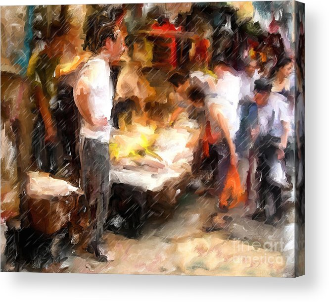 Chinatown Acrylic Print featuring the mixed media Chinatown Rain by Marilyn Sholin