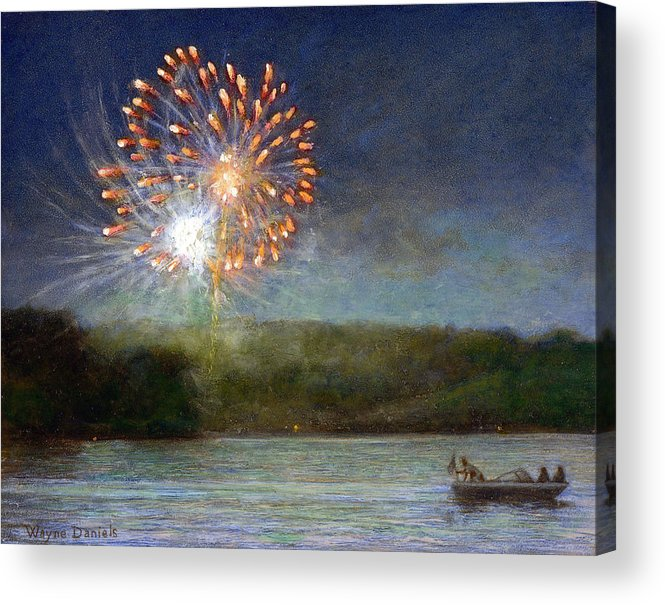 Fireworks Acrylic Print featuring the painting Fourth Of July- Cazenovia Lake by Wayne Daniels