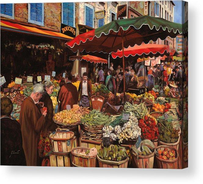 Market Acrylic Print featuring the painting Il Mercato Di Quartiere by Guido Borelli