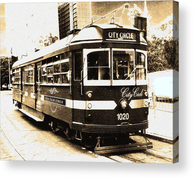 Sepia Acrylic Print featuring the photograph Melbourne Tram by Darren Stein