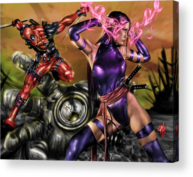 Marvel Acrylic Print featuring the painting Psylocke And Deadpool by Pete Tapang
