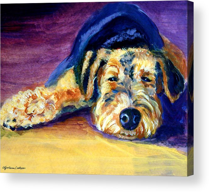 Airedale Terrier Acrylic Print featuring the painting Snooze Airedale Terrier by Lyn Cook