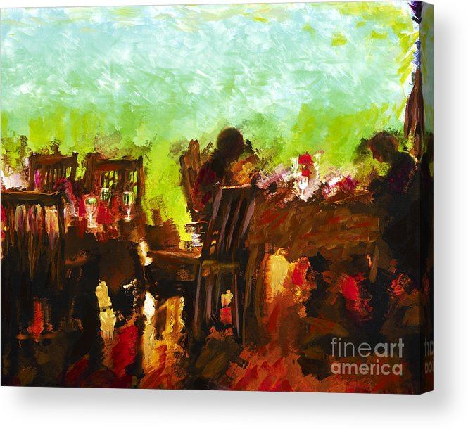 Dining Acrylic Print featuring the mixed media Sunset Terrace Intimacy by Marilyn Sholin