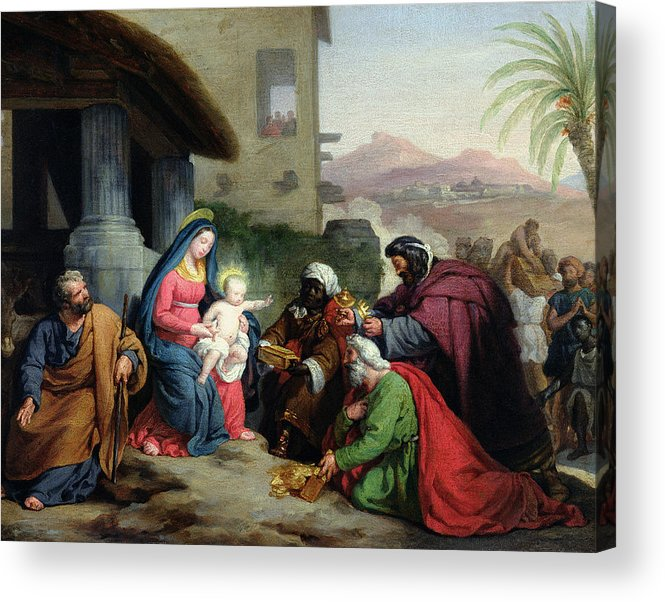 The Acrylic Print featuring the painting The Adoration Of The Magi by Jean Pierre Granger