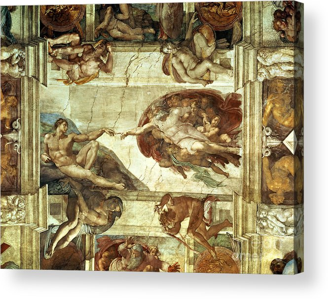 The Creation Of Adam Acrylic Print featuring the painting The Creation Of Adam by Michelangelo
