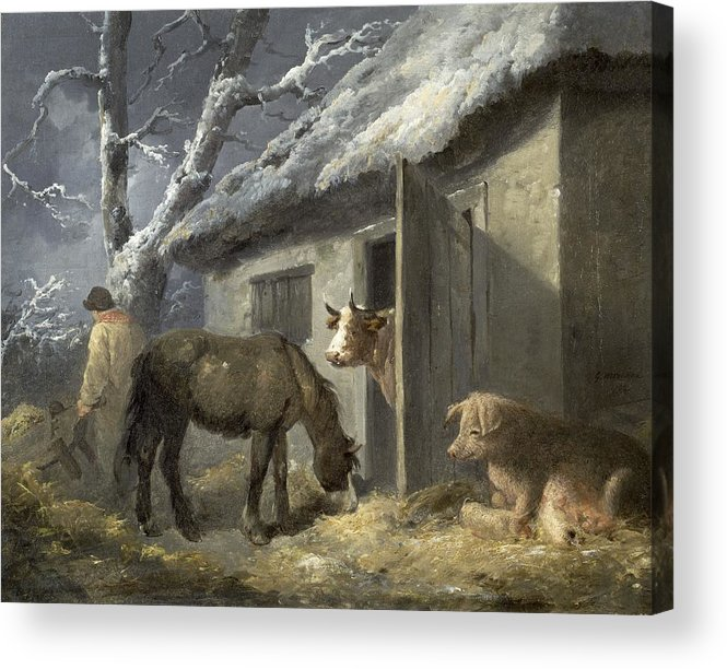 Winter Acrylic Print featuring the painting Winter Farmyard by George Morland