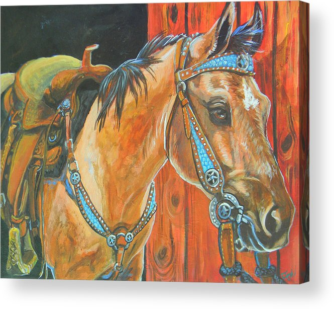 Horse Acrylic Print featuring the painting Buckskin Filly by Jenn Cunningham
