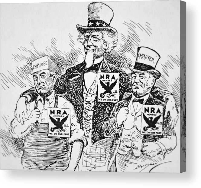 Male Acrylic Print featuring the drawing Cartoon Depicting The Impact Of Franklin D Roosevelt by American School
