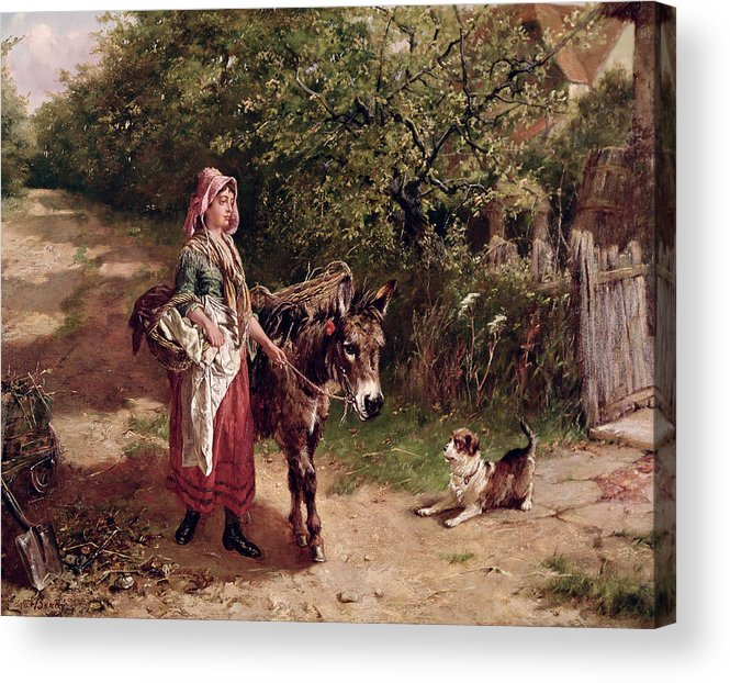 Spade Acrylic Print featuring the painting Home From Market by Edgar Bundy